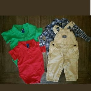 Boys 9-12 Months 4pc Oshkosh Overalls And Tops